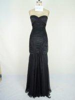 Strapless Red Black Chiffon Evenning Dress Glamorous Prom Gown Bridesmaid Dress Ready Made Sample Dress Sz 2 4 6 8 10 12 14+