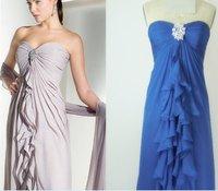 Strapless Silver Blue Chiffon Evening Dress Short Prom Gown Long Wedding Dress Ready Made Sample Cocktail Dress Sz  2 4 6 8 10 +
