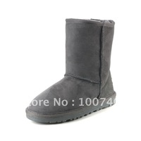 Medium-leg boots genuine leather snow boots women's shoes flatbottomed 5825 fur one piece classic
