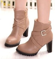 Free shipping ankle boots high  heel shoes winter fashion sexy warm fur buckle women boot pumps P2455 on sale size 32-43