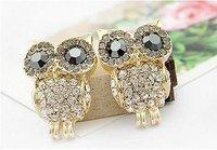 Hot Selling New Arrival Fashion Women's Girl's Jewellery Earring Alloy Owl Crystal Stud Earring E6