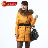 2012 Quality goods winter down coat medium-long outerwear slim waist outerwear large fur collar
