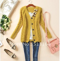 Free Shipping: 2012 Autumn new arrival candy color V-neck loose cutout sweater Cardigans 5 colors free shipping