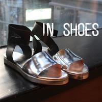 9.25 flat heel cowhide color block decoration transparent silver cowhide 3.1phillip lim metal flat