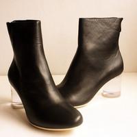 9.25 anna transparent round genuine leather cowhide boots maison martin margiela