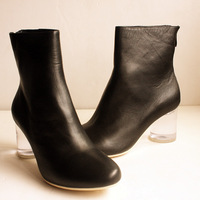 9.25 anna transparent round genuine leather cowhide boots maison martin margiela