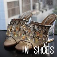 Fashion p white rhinestone crystal decoration beaded sweet transparent thick heel high quality sandals