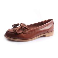 Frye british style vintage retro finishing genuine leather bow single shoes flat shoes women's shoes