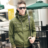 2012 autumn men's clothing fashion male short design slim outerwear thin men's casual jacket