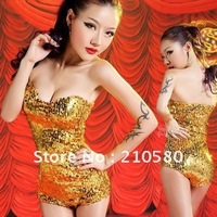 Gold Silver Black Sexy Sequins Tube Top Womens Clothing Jumpsuits DS Night Club Pole Dancing Clothes
