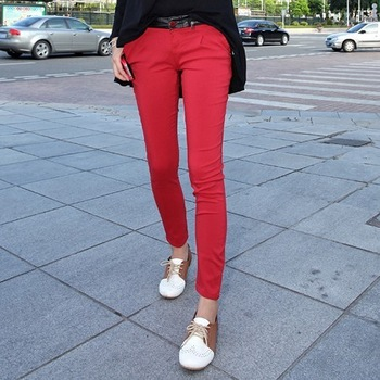 Freeshipping 2012 trend women's red low-waist pencil pants jeans IVU