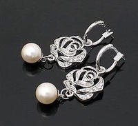 2013 Fashion Hot Selling New Style Silver Color With Rhinestone Simulated Pearl Rose Flower Earring E23
