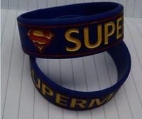 2013 HOTSALE  wristband SUPERMAN  silicone bracelet   50pcs/lot 180*19*2mm free shipping