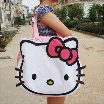 canvas handbags shoulder bag hello kitty big Shopping tote bag ,freeshipping