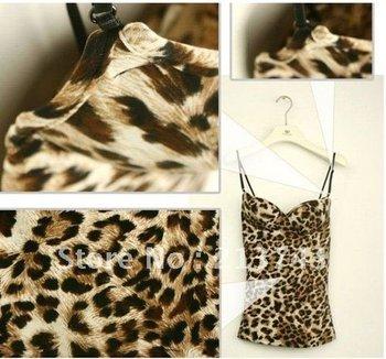 Sexy Women's Show Thin Leopard Tops Strap Sleeveless Condole Belt Vest