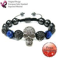 FREE SHIPPING Crystal Skull Bracelet Shamballa Bracelets Wholesale Pave Skull Beads