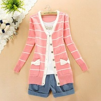2013 New arrival college style striped women sweater.Long Autumn sweater with lovely bowknot .Six colors/Pink,blue,green