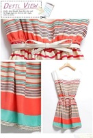 Fashion Womens Mini Dress Colorful Stripes Chiffon Free Bowknot Waist Belt Tops[240410]