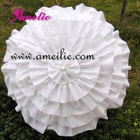 Free Shipping Children's Girl White Ruffle Cancan Parasol Frilly Umbrella
