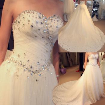 FedEx free shipping Wedding dress princess wedding dress 2013 tube top luxury royal train wedding dress