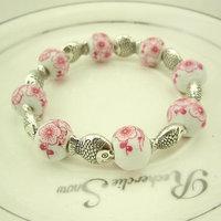 Mix National trend personality exquisite dollarfish chimonanthus flowers ceramic beads beaded bracelet