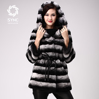2012 fashion new High Grade Hooded fur coat,Noble Elegant Ladies' rex rabbit fur coat ,Chinchilla style rabbit coat FS02