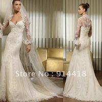 Freeshipping 2013 New Design Dubai Wedding Dresses With Long Sleeves Jacket