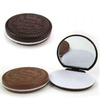 Chocolate sandwich biscuit makeup mirror chocolate portable mirror (KD-04)
