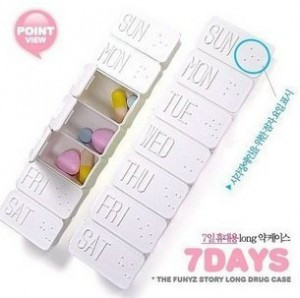 White Weekly Pill Case Storage Box (FN)