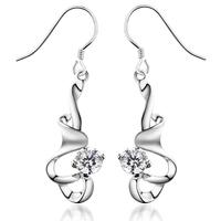 Jpf 925 pure silver earrings female hearts and arrows cubic zircon earring silver jewelry