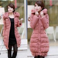 Free Shipping!2014 New Arrival Down Coat Female Women Laciness Medium-Long Fashion Down Jacket/black pink/S-XXXL