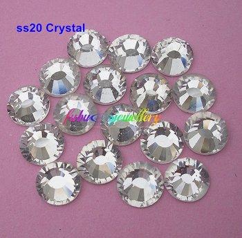 Free Shipping! 1440pcs/Lot, ss20 (4.8-5.0mm) Crystal/Clear Flat Back Nail Art Non Hotfix Rhinestones