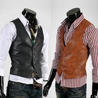 Hot casual modern all-match male leather slim vest tank tops vest undershirt beer for men singlet