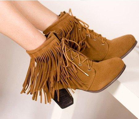 Frete grátis , Boho Fringe Lace up # 893 Chucky salto alto ankle boots , R 5-8,5 , mulheres / Senhoras sapatos(China (Mainland))