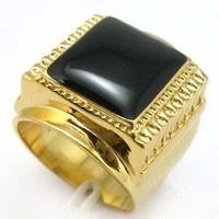 unisex yellow gold inlay black jade  ring  #8 free shipping