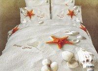 New Beautiful 4PC 100% Cotton Comforter Duvet Doona Cover Sets FULL / QUEEN / KING SIZE bedding set 4pcs Sandbeach Shell
