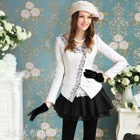 2012 white big gem bordered short design wool women's outerwear / jackets size M