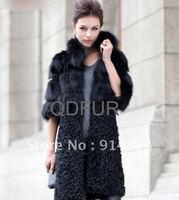 2012 New  Women Long Real Fox And Lamb Fur Coat Jackets Elegance Outwear Garment /free shipping