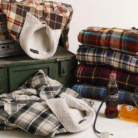 WARM CHOICE!!! Flannel + Berber Fleece Long Sleeve Casual Plaid Checker Shirt Jacket Thicken Lamb Fur Inside Shirts Grids Coat