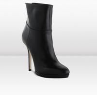 2012 high-heeled shoes black sheepskin high heel boots thin heels ultra high heels platform boots