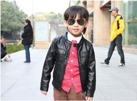 2014 new arrival fashion child   PU  leather THICKEN jacket child outerwear  child jacket  free  shipping