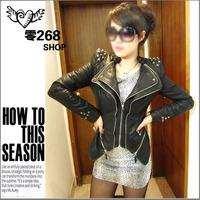 Shalang pads autumn double zipper dovetail rivet slim leather clothing jacket female outerwear