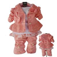 2013 New Kids Clothes Set For Baby Girl 3Pcs Coat Long Sleeve T shirt Pants Autumn Winter Children Clothing Sets Girls Fashion