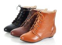Туфли на высоком каблуке 2012 hot sale genuine cow leather women's swing elevator pumps shoes, ladies' casual lace up and slip on slim shoe