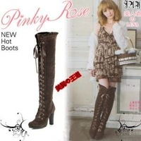 Women Sexy Winter Knee High Boots Heels Platform Lace Up Booties Female Shoes With Zip Size 35-40 MZ190-1