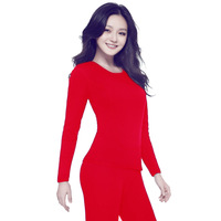 Big Delas  thermal underwear wool bamboo thermal underwear set female plus velvet thickening autumn and winter