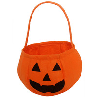 holiday 25pcs/lot non-woven  fabric Halloween pumpkin round bag