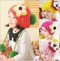 Free shipping Handmade Children Hats Cute Princess Flower hanging double ball wool cap double ball Korean children knitted hat