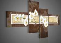 hand-painted oil wall art Quietly elegant white flowers decoration abstract Landscape oil painting on canvas Match framework 010