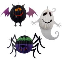 Halloween decoration props supplies pumpkin lantern three-dimensional globular paper lantern